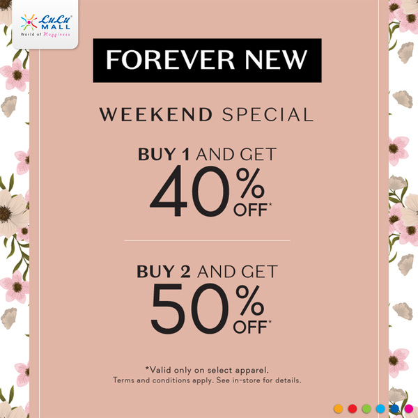 Shop at Forever New this #Republic weekend and avail great offers - buy one item and get 40% off, shop 2 items and get 50% off! Head to #LuLuMall #Kochi now!pic.twitter.com/pXIP5NWH76