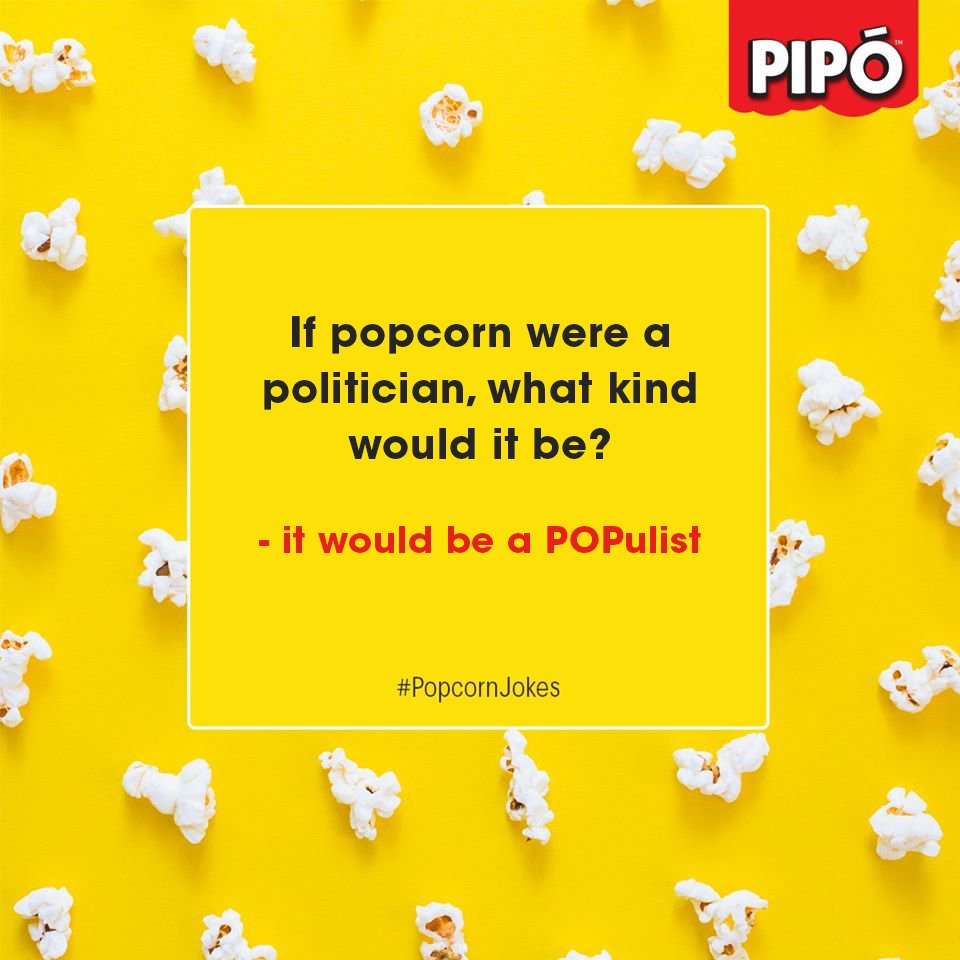 #PopcornJokes  And this is why popcorn is a snack for the masses and all the classes.  #Pipo  #Popcorn  #Jokes  #DadJokes  #Mixin  #TasteBomb  #PeriPeri  #CheeseBurst  #Salsa  #DesiCocktail  #Friends  #Social  #Snack  #Munch  #Yummy  #Foodie  #Movies  #Buttery  #Sharing  #Spicy  #Tangy  #Weekend