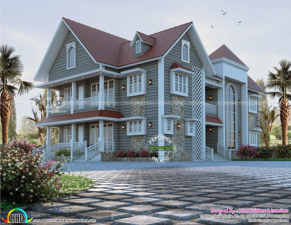 Kerala Home On Twitter European Touch Sloped Roof House Rendering Https T Co Nilynhgndm
