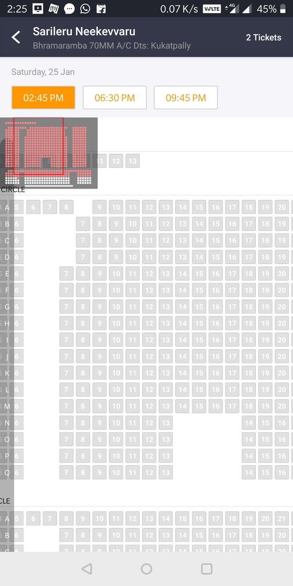 536 seating capacity balcony class SOLDOUT  15 th day matnee Bramaramba KPHB #sarileruneekevvaru <br>http://pic.twitter.com/5AqMBgHcLd