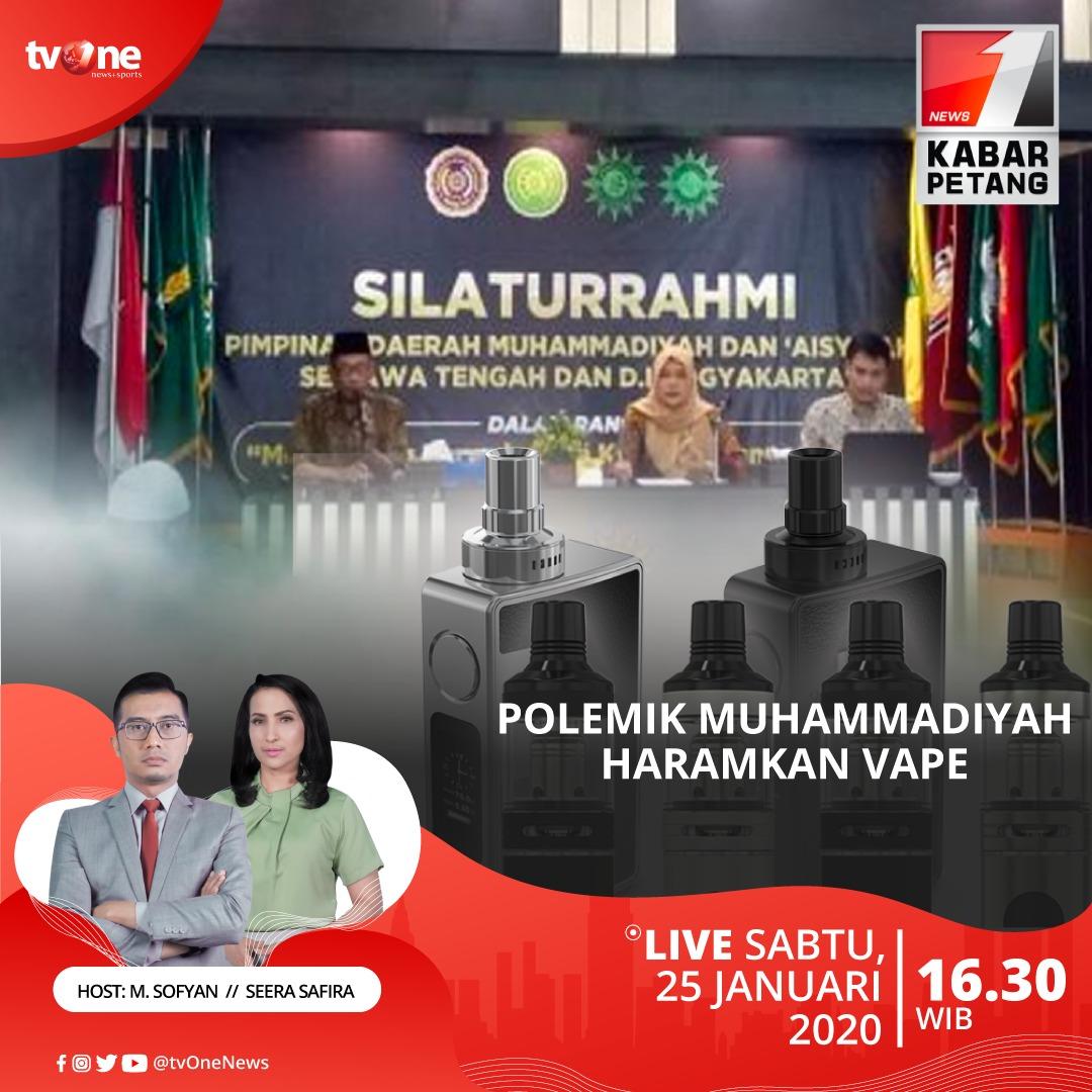 Polemik Muhammadiyah haramkan vape.Saksikan Kabar Petang jam 16.30 WIB di tvOne & streaming tvOne connect, android http://bit.ly/2EMxVdm & ios http://apple.co/2CPK6U3 #KabarPetangtvOne
