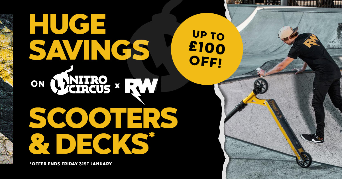 Savings on Nitro Circus Scooters & Decks Until the 31st of January we are offering up to £100 of selected Nitro Circus and RWilly Scooters & Decks! Take a look at the range here: http://ow.ly/rqqW50y3Zao  #rwilly #nitrocircus #scooters #moneyoff #offer #scooter #scooterdeckpic.twitter.com/GmrQOaWd87