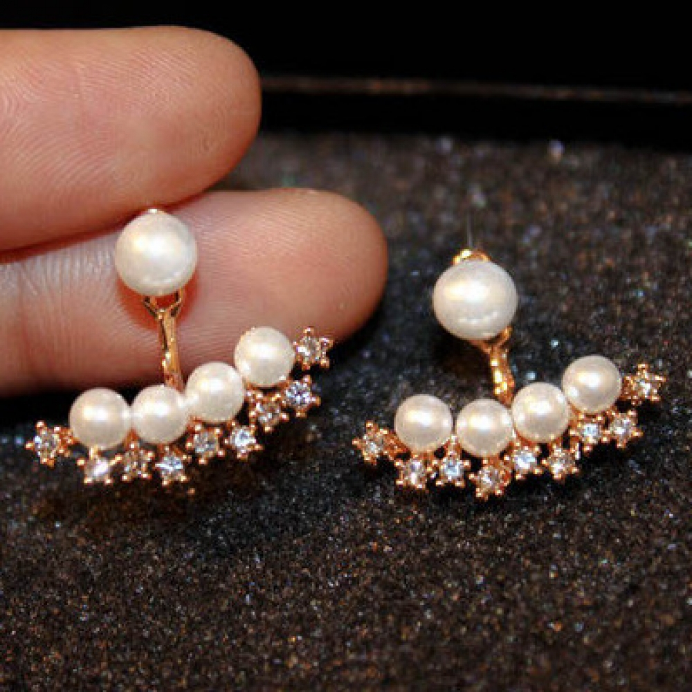 Women's Pearl Double-Sided Earrings US $8.56/- Only  Click here to buy now   #fashion #love #amazing #look #followme #style #onlineshopping #shopping #swag #uberstyler