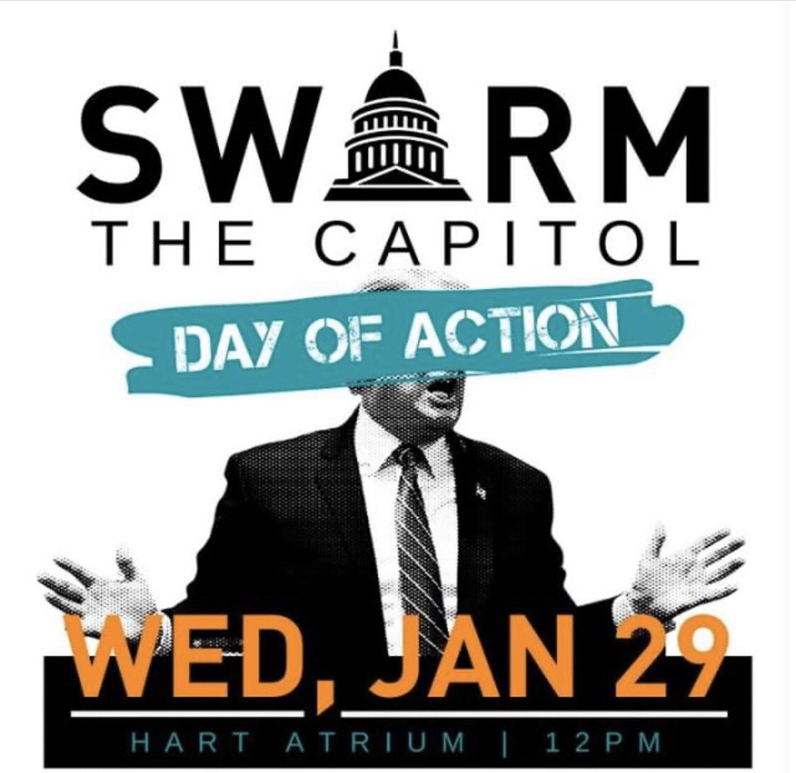 Join us in DC at the Hart Senate Bldg next Wed, Jan 29th at noon as we SWARM THE CAPITOL to demand #DocsAndWitnesses  #StopTheCoverup  #SwarmTheSenate  #AmericaWantsWitnesses    —>Sign up to join here:  http://bit.ly/2S0MLjR   —>Help someone else get there:  http://bit.ly/2S0MLjR