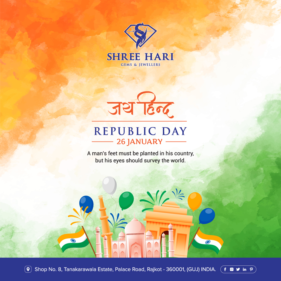 Happy Republic Day, A man's feet must be planted in his country, but his eyes should survey the world. . . . #HappyRepublicDay #RepublicDay #India #ShreeHari #ShreeHariJewellers #Jewellers #Collection #Gold #Silver #JewelryArt #GoldJewellery #Jewellery #Fashion #Gold #Bracelet