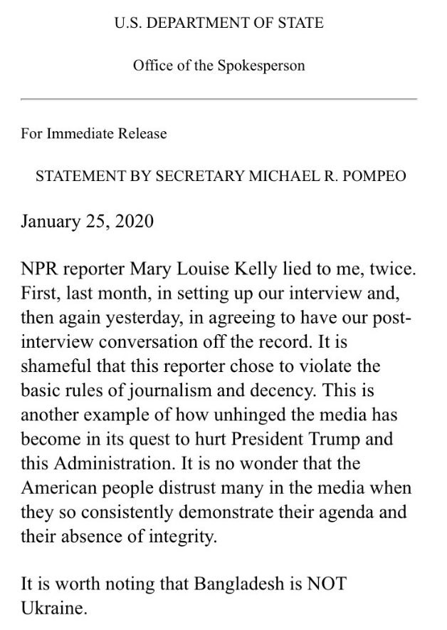 Reporters should wear bodycams to ensure politicians can't do what Sec'y Pompeo did here. As I've said before, I'll trust a reporter over any politician. They live by ethics codes and are either honest and get things right or they don't last. Tell me when that's true of a pol.