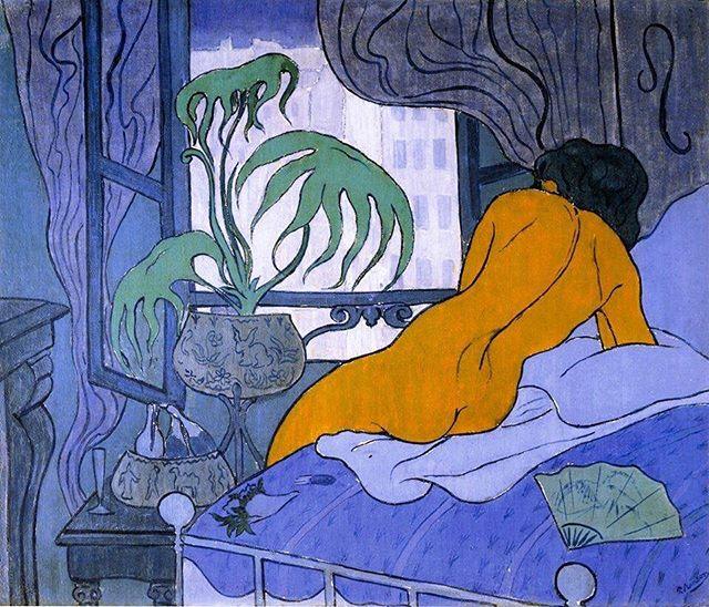 Paul Elie Ranson - La chambre bleue ou nu a l'eventail, 1891 — #paulelieranson #chipilli #chipilliart #art #artist #arte #artlovers #artlife #fineart #instaart #style #painting #music #artwork #artoftheday #paintings  Ig, fb and tw: chipilliart