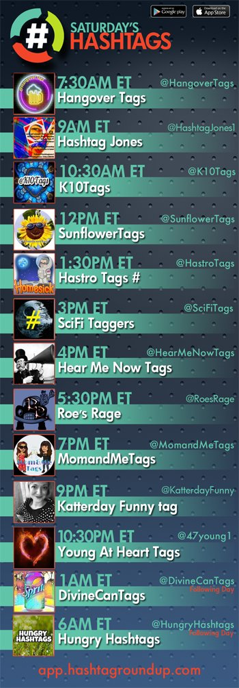 Hashtag Roundup - Saturday  ❤️hashtag games? Tweet with us!  Download our FREE @HashtagRoundup app (IOS/Android) for daily schedule & notifications right to your phone! 👉👈  Guests (ET) 1:30P @BilliesGameAcct  4P @googlygirl98  5:30P @AngelaMiroddi