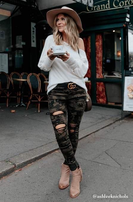 #fashion #style #pants #sales #SaleAlert * Amaryllis Abroad Kara Distressed Muted Camo Skinny #Jeans - #ShopNow!