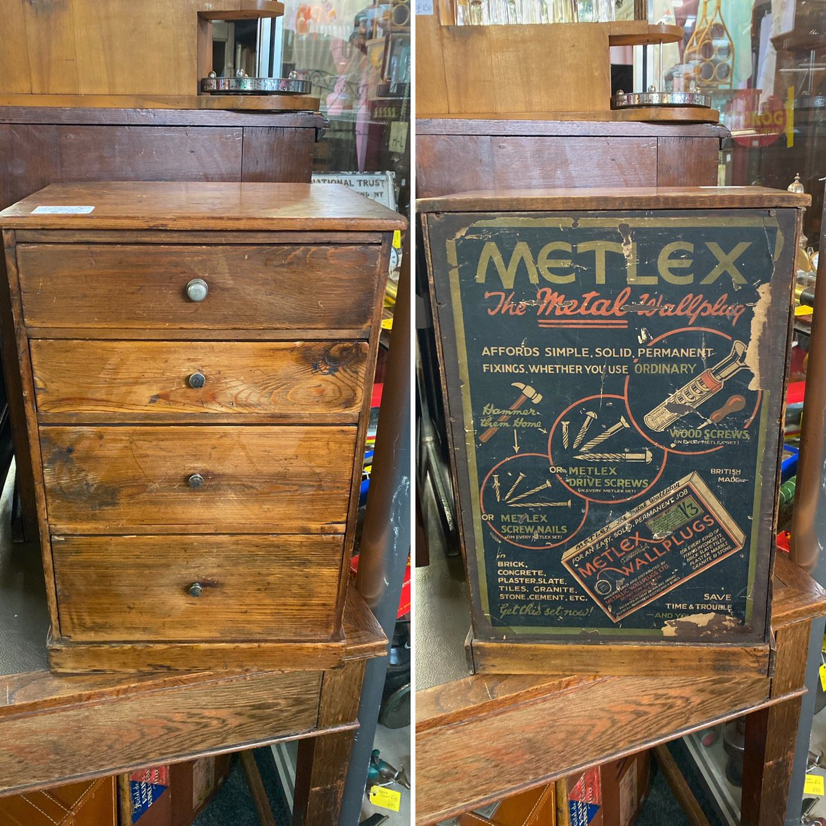 Early 1900's ironmongers cabinet with rear advertisement. #astraantiquescentre #hemswell #lincolnshire #newstock #ironmongery<br>http://pic.twitter.com/odJBdodZ68