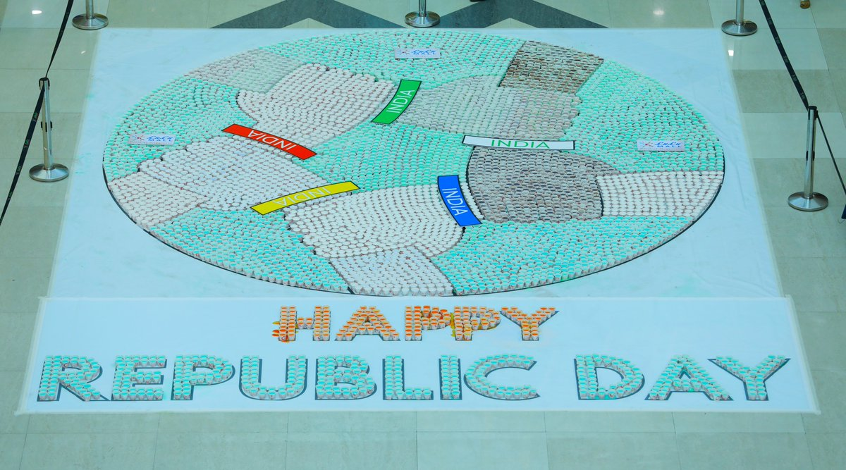 We celebrated spirit of our Country by making a beautiful mosaic with over 35,000 cups filled with coloured-water in the colour of India's flag. We thank everyone who joined us in to make this beautiful piece of art, and wish everyone a very happy #RepublicDay!  #LuLuMall #Kochipic.twitter.com/qjkgkkzrmn