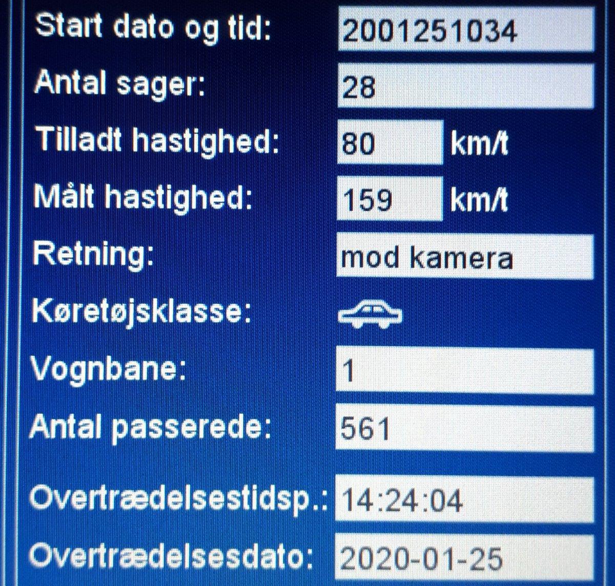 """Kære Bilist som netop blev blitzet af ATK med hele 159km/t i 80zone på kommunal udpeget strækning omkring Skærbæk. 1 km hurtigere og kørekortet var røget ubetinget. Nu """"nøjes"""" du med bøde på mindst 5000, samt en bet.frakendelse. Sænk nu farten og pas på hinanden #atkdk #politidk https://t.co/JrMiyZjSrV"""
