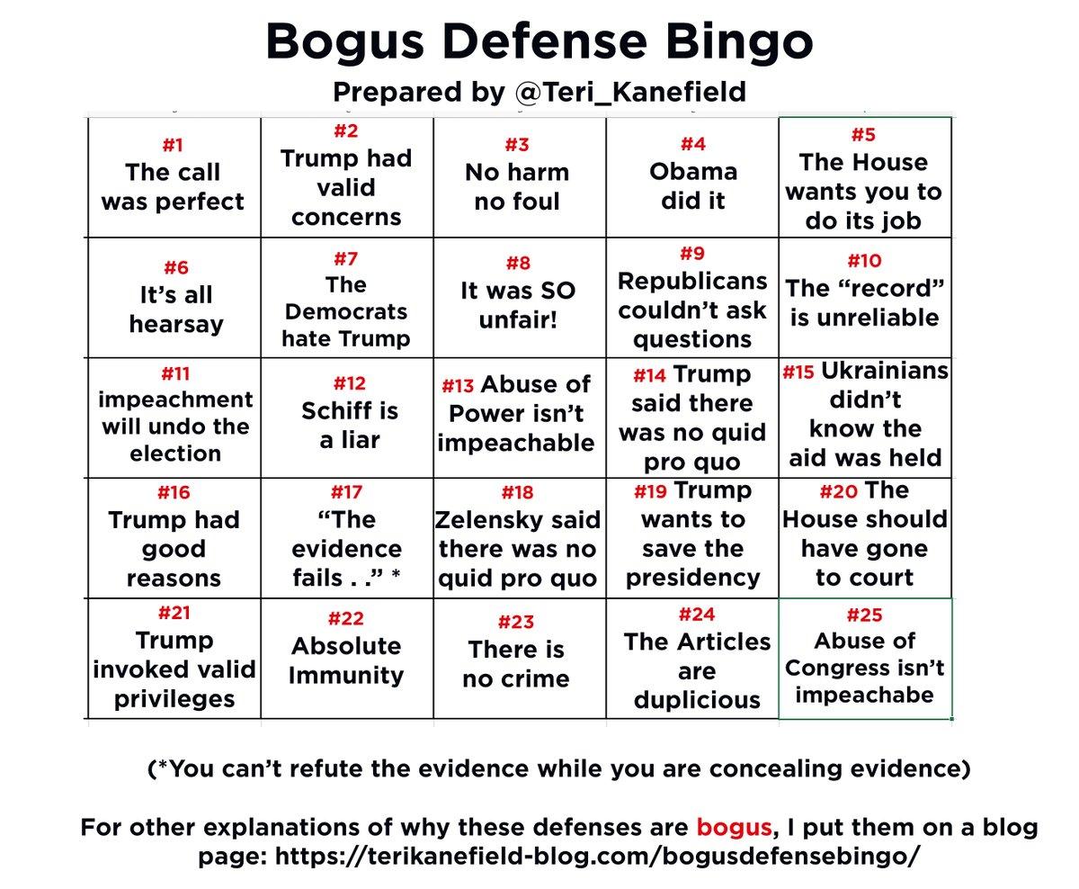 Okay. Here we go. #BogusDefenseBingoWhen you hear one of the bogus defenses, tweet with the hashtag #BogusDefenseBingo
