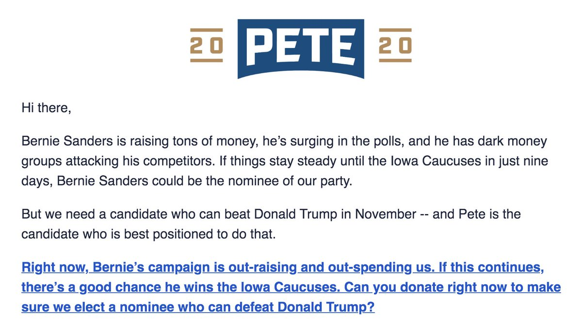 Pete Buttigieg cites the possibility that Bernie Sanders could win the nomination in a fundraising email to supporters.