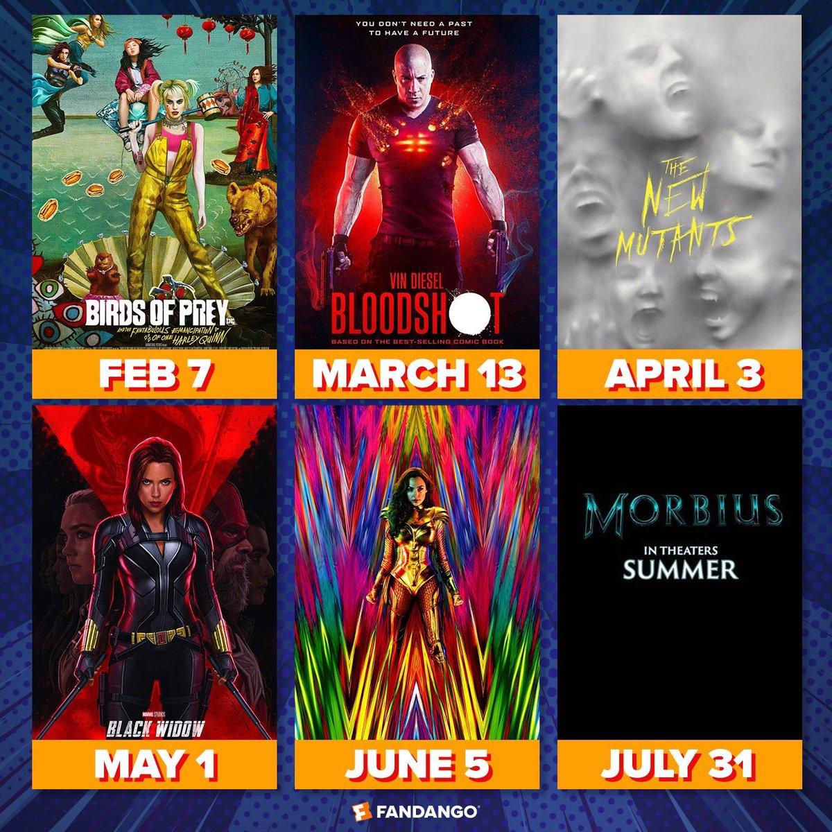 I'm having #superheromovie withdrawal. Fortunately, there's one a month starting next month. #BirdsofPrey #HarleyQuinn #Bloodshot #NewMutants #BlackWidow #WonderWoman1984 #Morbius