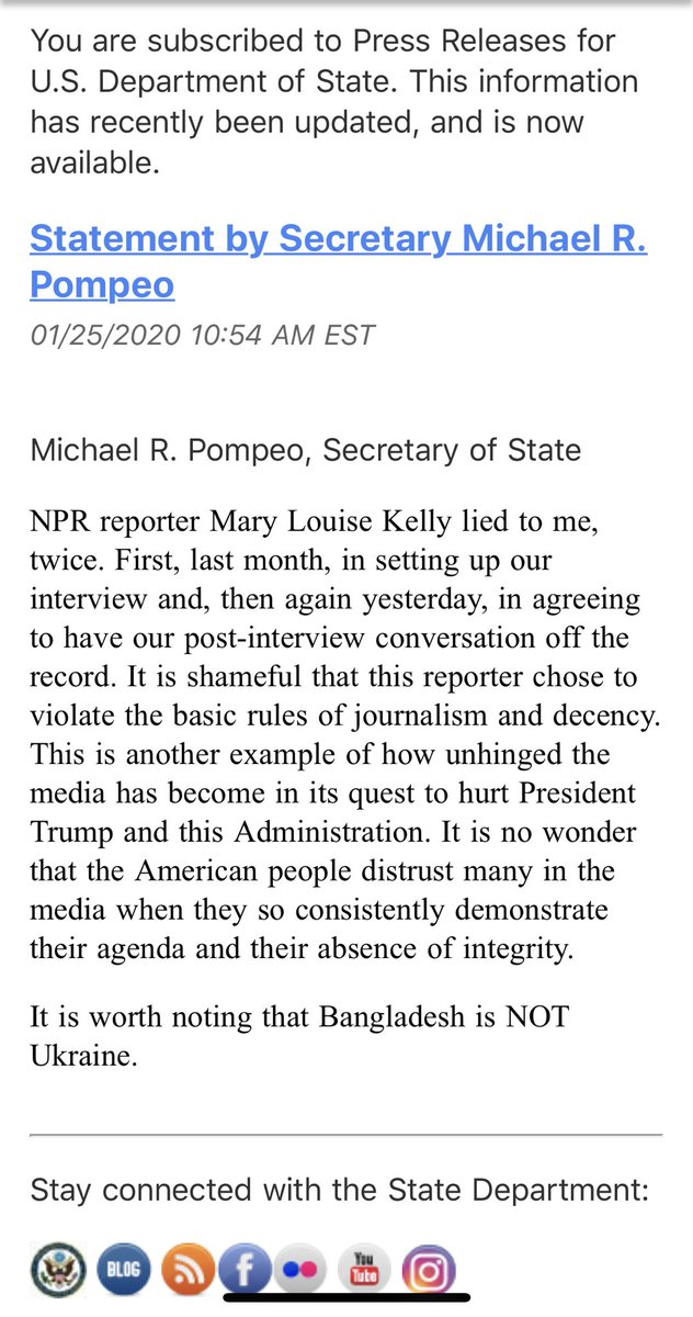 Whoa. @SecPompeo escalates. Hard to see how this strategy ends well for him, especially in the long run.