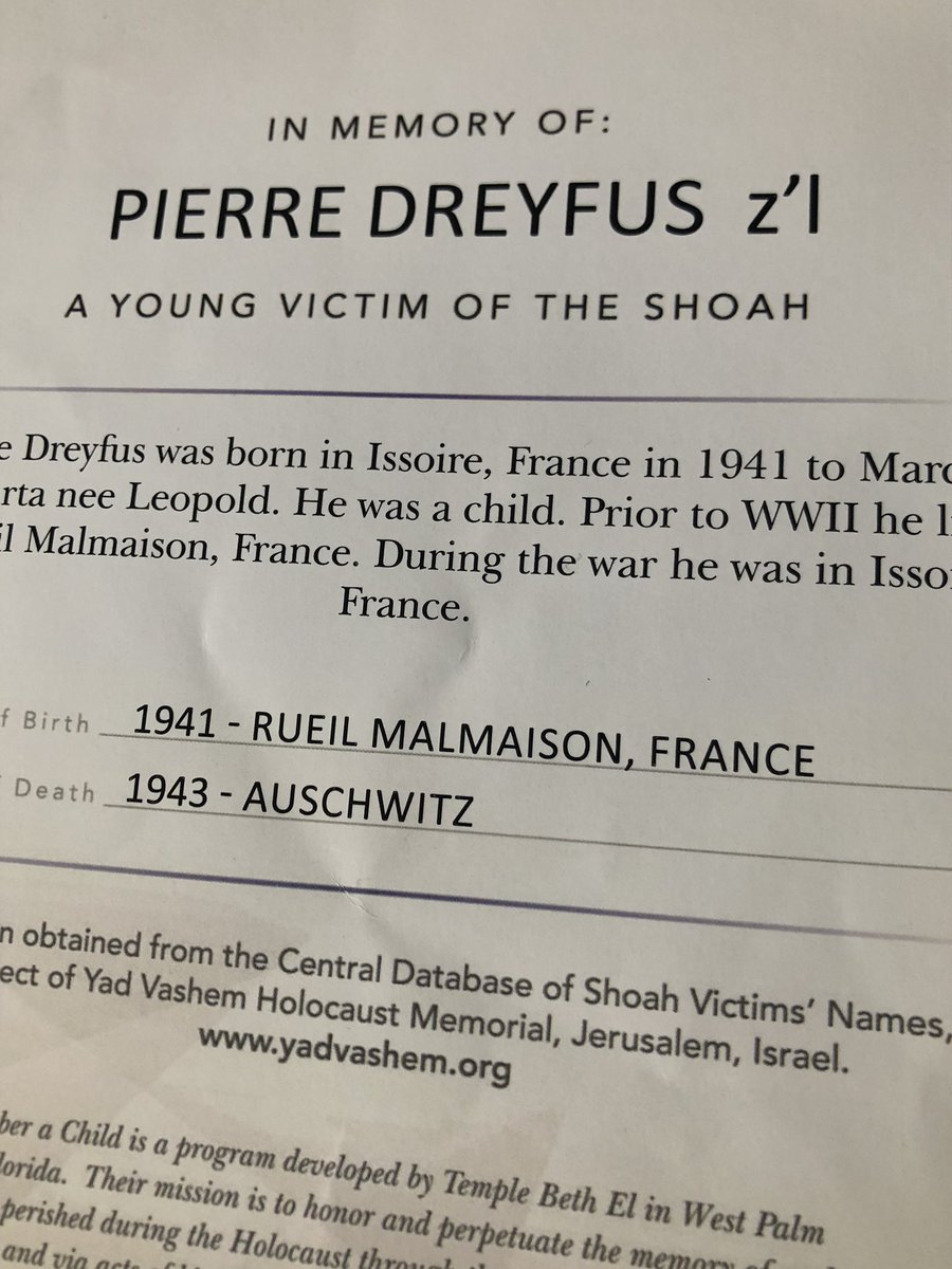 I've given my word I will honour a boy, just 2 years old when he was taken from a town in France to #Auschwitz, where he was killed. His name was Pierre Dreyfus. Let us remember his name. #Auschwitz75 #NeverForget #Rememberachild<br>http://pic.twitter.com/yGLPuB8aYH