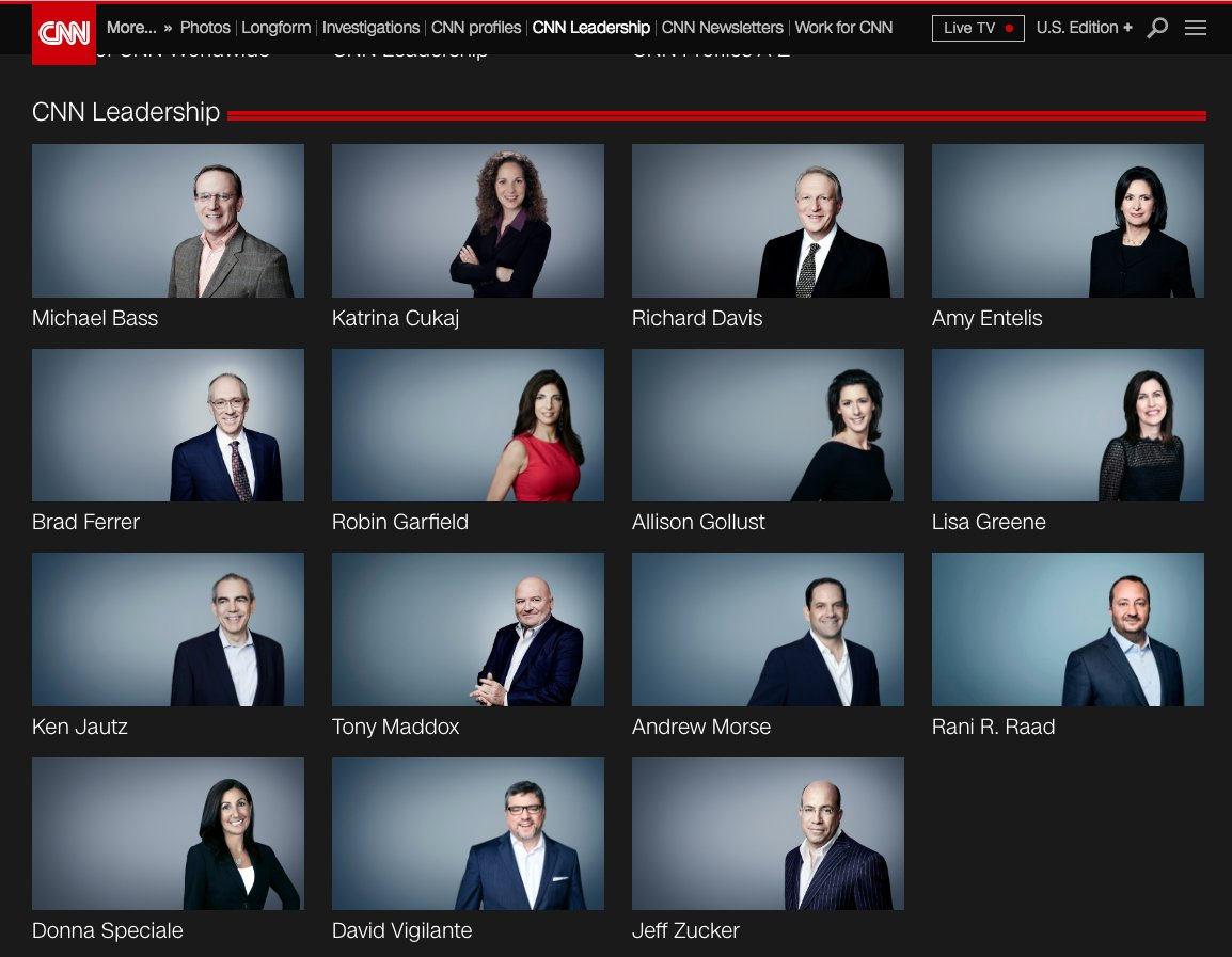 CNNs @JeffreyToobin just injected race-baiting into the #ImpeachmentTrial. White House and white lawyers, he said. I wonder if hes taken a look at the CNN Leadership page on their website?