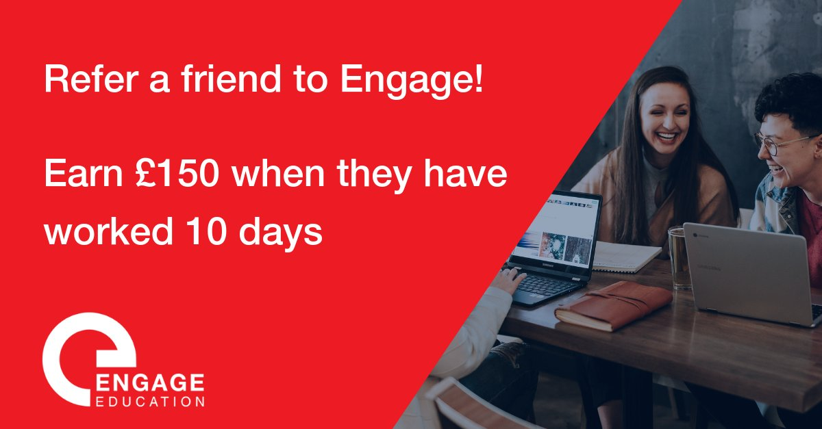 Have you had a great experience with Engage? Why not refer a friend to us and we can help them too! You will also earn £150! http://bit.ly/2ULqtC3#teachertwitter #edutwitter #ukedchat #teacher #education #learning #teacherjob