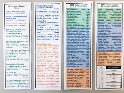 My year 11 have these subject specific bookmarks, to remind them of exam question structure, keywords, people and events. #everylittlehelps #noexcuses <br>http://pic.twitter.com/JHmzZisCgb