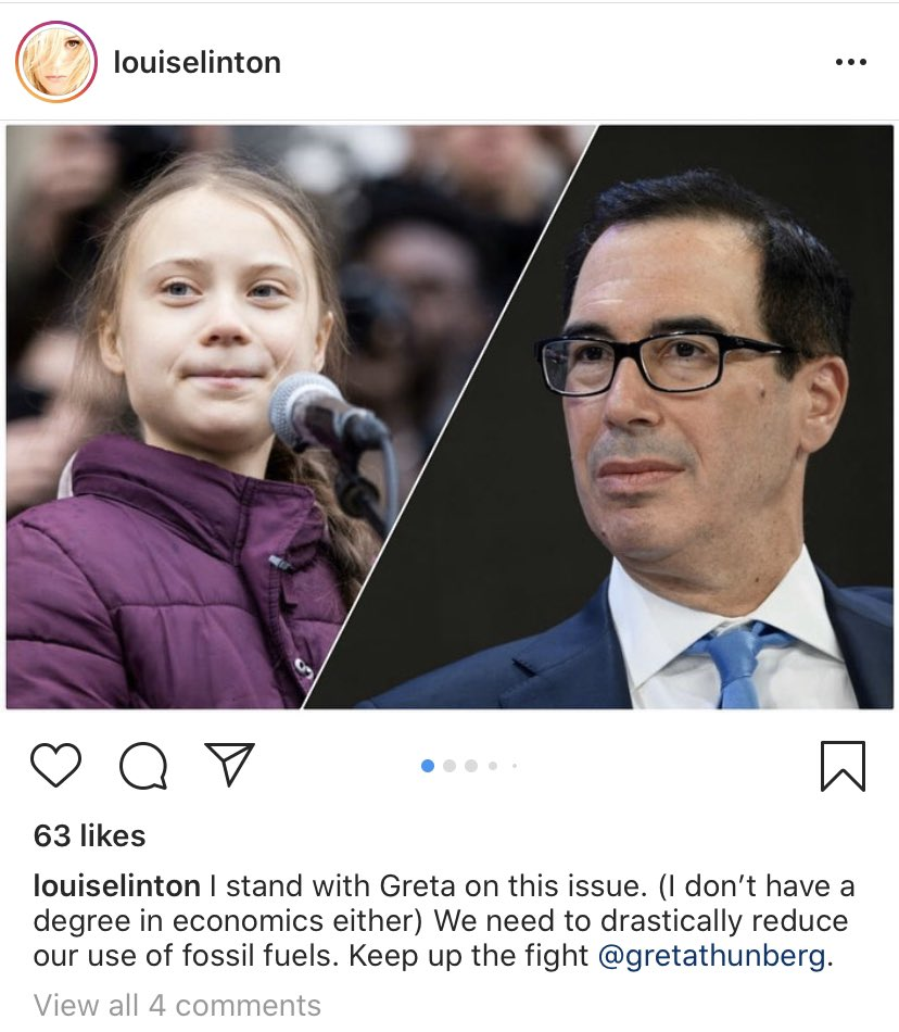 steven mnuchin's wife, the actress Louise Linton, posted this on Instagram after his comments on Greta Thunberg.