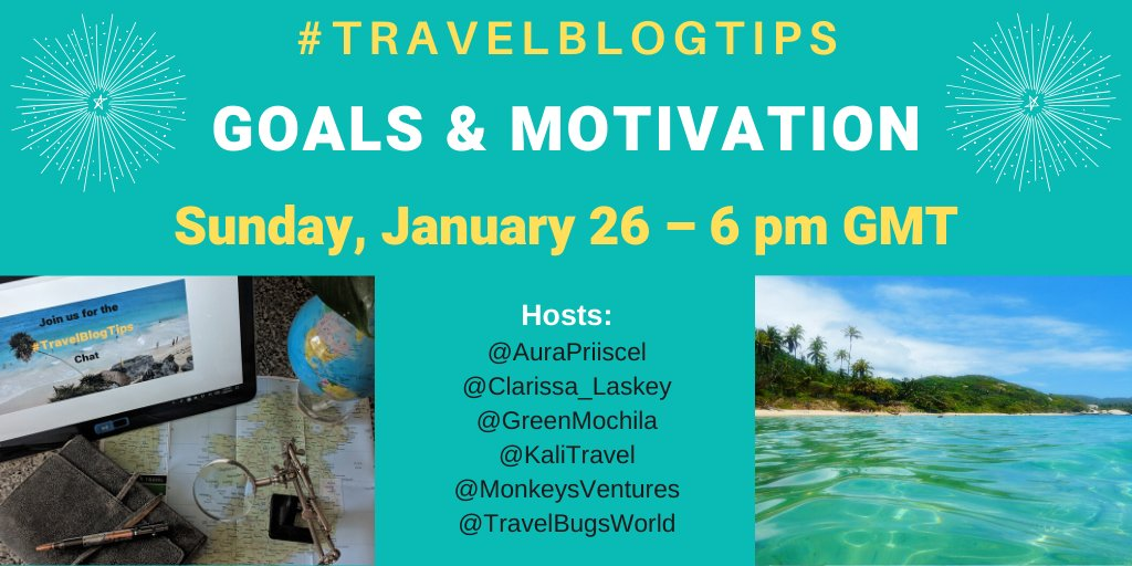 Need help to keep up with your New Year #writing goals? Join us for #TravelBlogTips Chat Sunday, January 26 at 10am PST/1pm ET!! We are talking #Motivation + @lanatravel2 @Lloydstevens29 @AOAOxymoron @Rosie_2222 @seans_thoughts #writingcommunity #blogging #NewYearsResolutions