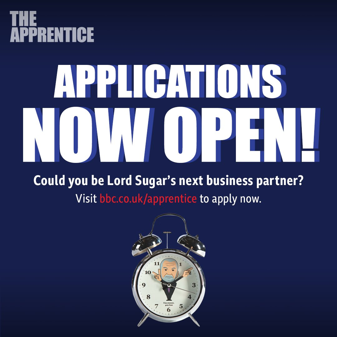 The clocks ticking, but still time to apply for the next series of #TheApprentice! If you think youve got the skills - and the business plan to match - just head over here: bbc.co.uk/apprentice