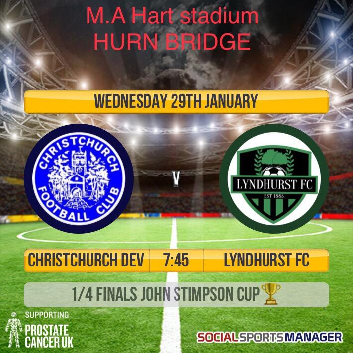 Next up for the lads, another tough cup game under lights at Hurn Bridge on Wednesday night. With a place in the semi finals up for grabs, your support would be greatly appreciated.  The clubhouse will be open for refreshments.<br>http://pic.twitter.com/Pbn1bU8gYB