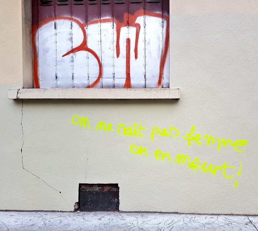 """""""On ne naît pas #femnme. On en meurt"""" #Graffiti #ArtDeRue #StreetArt Vu à #Grenoble   #féminicide   Ping @isskeinpic.twitter.com/fXMZA2GC33"""