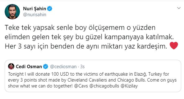 Arda Turan'ın ardından Nuri Şahin de Cedi Osman'a katıldı.  MUHTEŞEMSİNİZ! https://t.co/K5TvapQ214