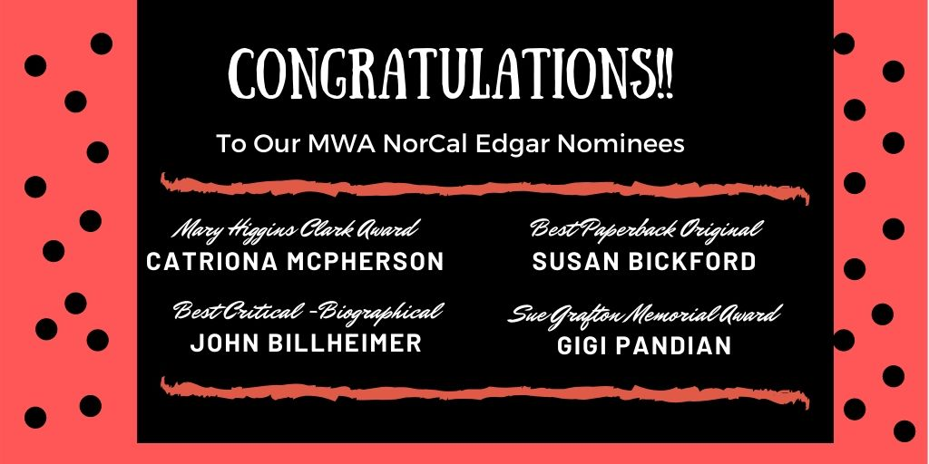 Congrats to the #northerncalifornia nominees for the 2020 Edgar Allan Poe Awards, honoring the best in mystery fiction, non-fiction & television published or produced in 2019! #edgars2020 #EdgarAllanPoepic.twitter.com/aLVTjiyDQ5