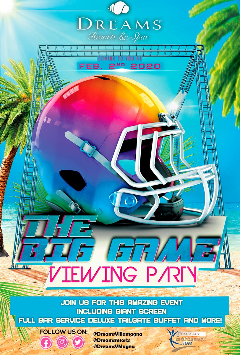🏈Enjoy The #BigGame from paradise! Join us this February 2nd by the beach for an incredible #tailgate style party and kick off! See the Sundial or the Unlimited Connectivity app for info! #DreamsEntertainment