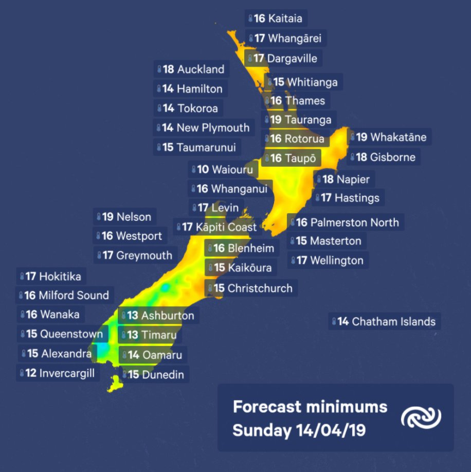 Here are your overnight temperatures across New Zealand. None of the main centres will be dropping below double digits.^KL https://t.co/oZqFxuYmwe