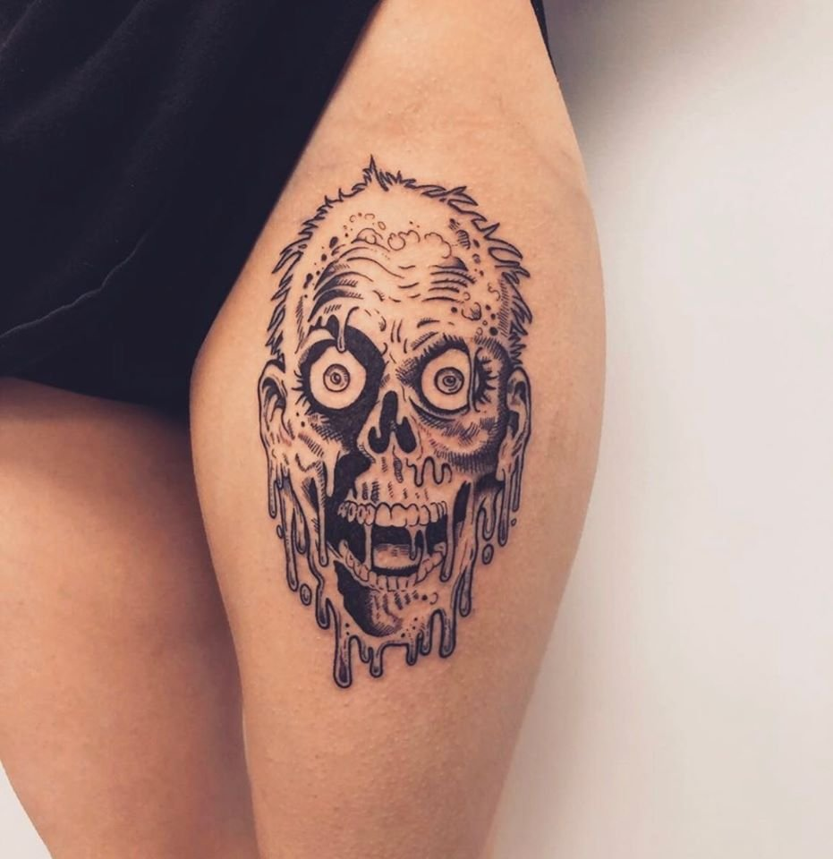 William Stout illustration tattooed by Ava... Gorgeous thigh piece! 💀🖤💯  #williamstout #thightattoo #blackwork #blackandgreytattoo #blackandgrey #inkedgirls #tattooedgirls #toughgirls #girlswhotattoo #beautifulgirls #bougie #beaumontab #tattoo #tattoos