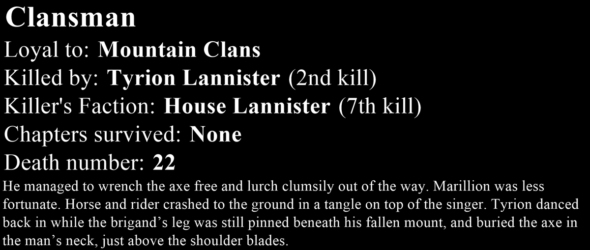 Death number 22: Clansman. #ASoIaF #GameOfThrones <br>http://pic.twitter.com/INoZqi9w5E