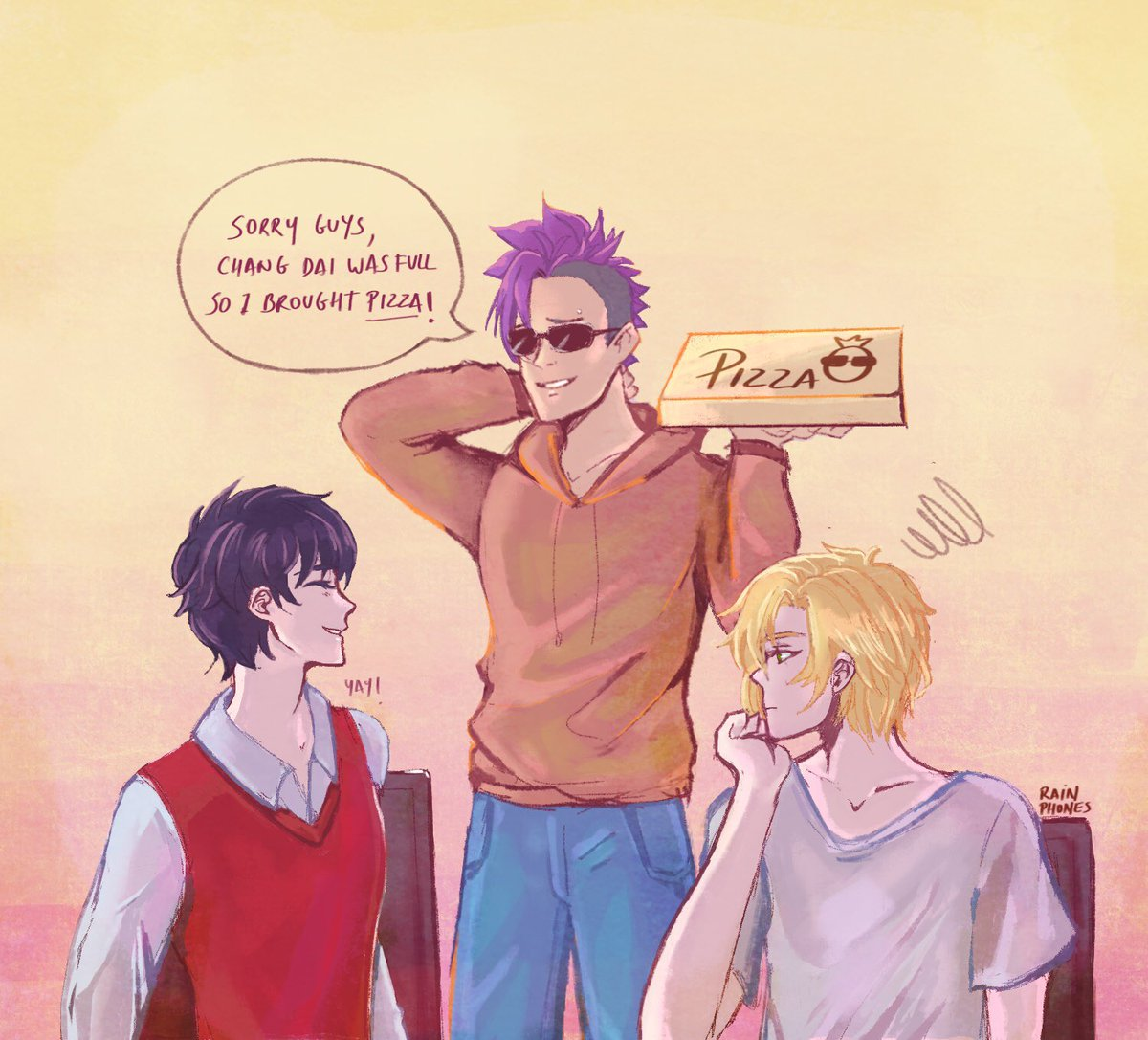 #BANANAFISH  Happy lunar new year!  The boys are having pizza to celebrate  <br>http://pic.twitter.com/AAjiXBbEzx