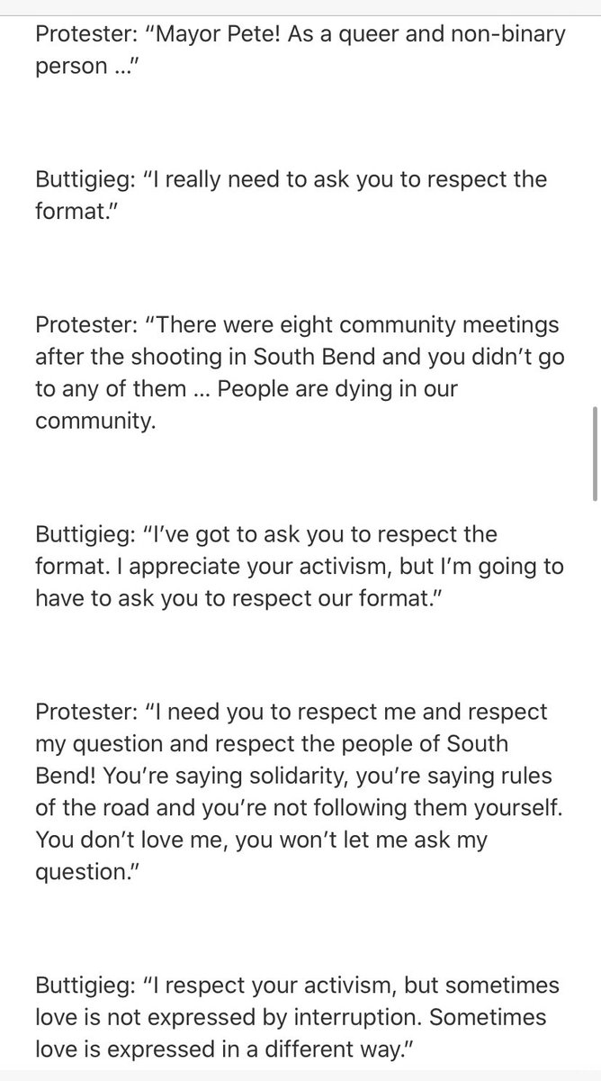 Per poll report, Pete fundraiser in Chicago was disrupted by a protestor who appeared to be citing @akela_lacy story about Pete attending only 1/7 community meetings on police oversight set up after the shooting this past summer. https://theintercept.com/2020/01/23/pete-buttigieg-south-bend-police-oversight-fundraisers/…