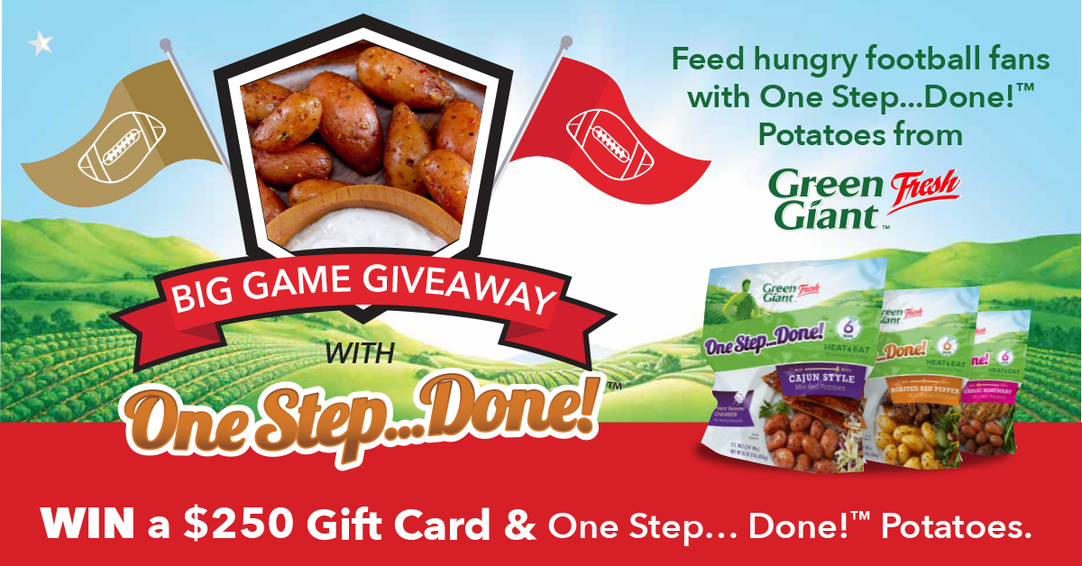 Not much left left until the #BigGame!🙌Enter the 🏈Big Game Giveaway🏈daily until 1/31/2020 for your chance to WIN $250 + our One Step...Done!™ #GreenGiantFresh Potatoes!  #BigGameGiveaway #sweepstakes #sweeps #giveaway #tailgate