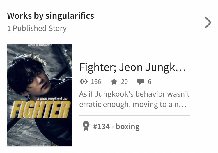 i'm not one to boast but i'm truly blown away! yesterday, vs. today. #FIGHTER_AU jumped up over 80 spots in the boxing category on wattpad - even though the au is more street fighting.  honestly, thank you so much for even reading my aus. this gives me so much motivation  <br>http://pic.twitter.com/vDHpWYNzts