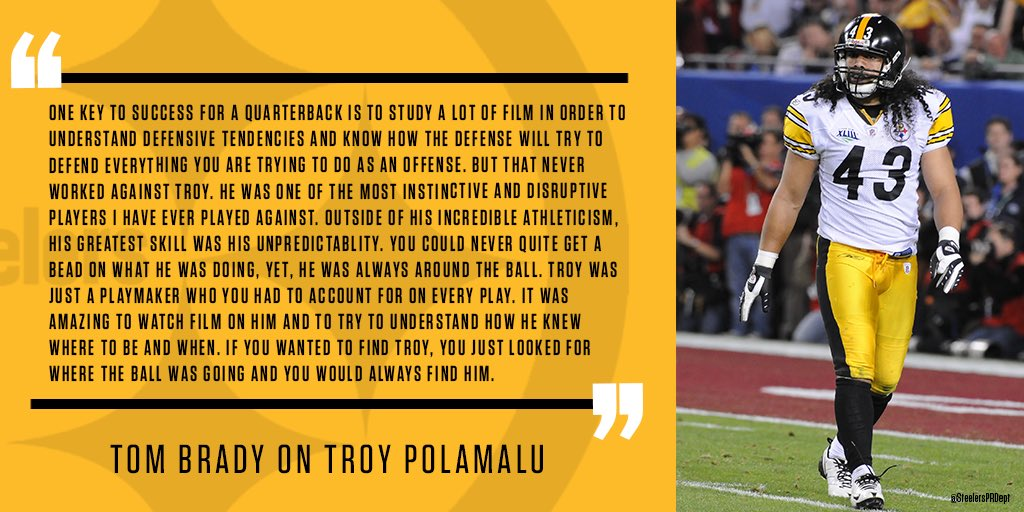 Patriots QB Tom Brady offers high praise for Steelers S Troy Polamalu