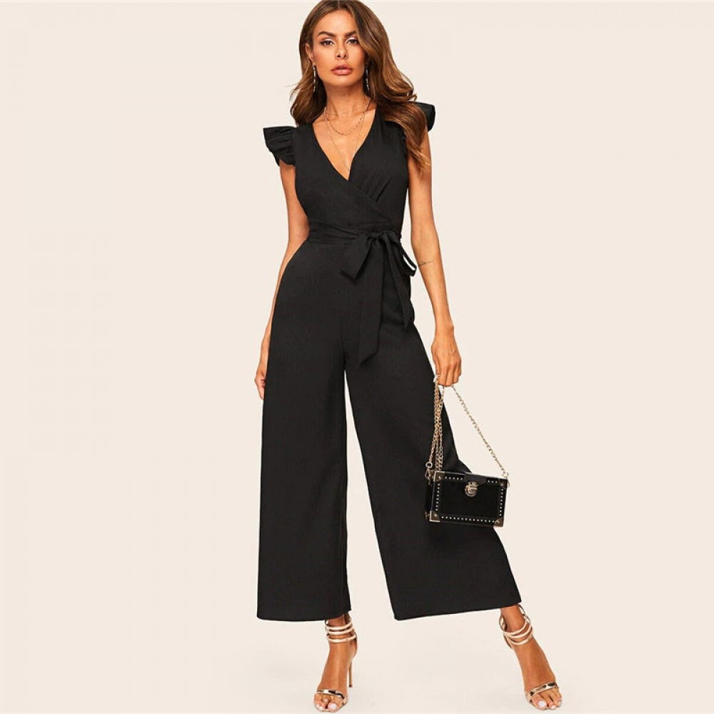 #luxury #design Elegant Black Belted Jumpsuit