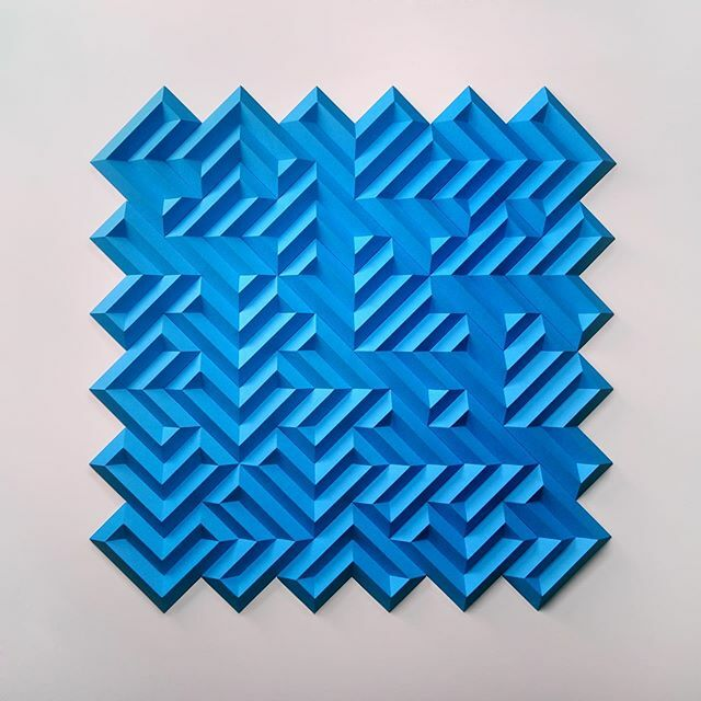 "Some Caterpillars Stay Caterpillars 8 test in blue 25"" x 25"" x 1/2"" Paper #shlian #paper #art #paperart #design #light #sculpture #contemporaryart #fineart #oneshape"