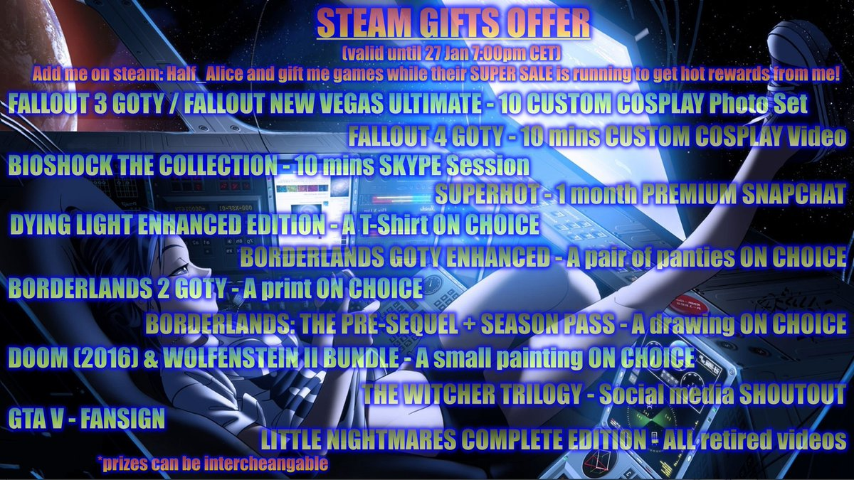 I LOVE #gaming! Don't you? If you have a #Steam #account, u prob already know about the #steamwintersale! Well, I have a #specialoffer for you too! #addme to friends (Half_Alice) and #gift me #games to get hot #Rewards while these #Amazing #SteamDeals last!<^_^> Happy Gaming!