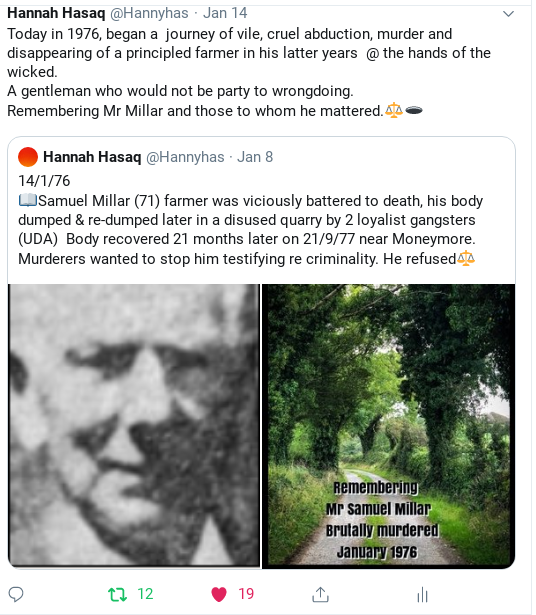 """Mr Samuel Millar - Age 72 - Draperstown area. Abducted from his farm @ an outshed 14/1/1976 by """"loyalist gangsters""""   Body recovered beaten, bashed    at the bottom of an 80ft Quarry pond on 21/9/1977   Brother abroad. A man in custody gave information Murder ever undiminishing <br>http://pic.twitter.com/vy0g6qJYHB"""