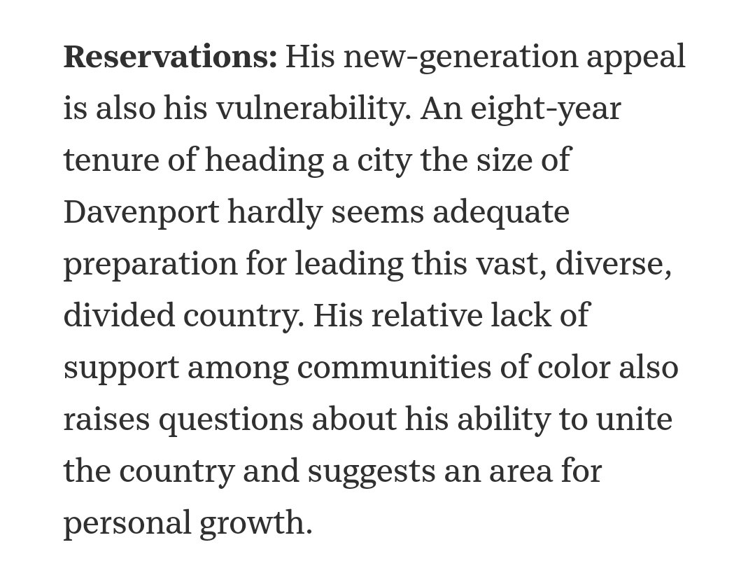 broken record here: but if Buttigieg's lack of support among communities of color per polling is a reason not to endorse him why is that not something Klobuchar or Warren have to also wrestle with