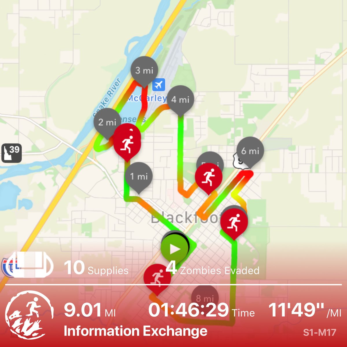 I didn't care about the pace today. I rucked six miles yesterday with a 35 lb pack and I have a PT test on Wednesday so I wasn't trying to push the pace, also this is the farthest I've run in years.   Helped Runner 10 -renowned zombie-killer - on secret cargo mission #zombiesrun pic.twitter.com/EJFKy6AuhM