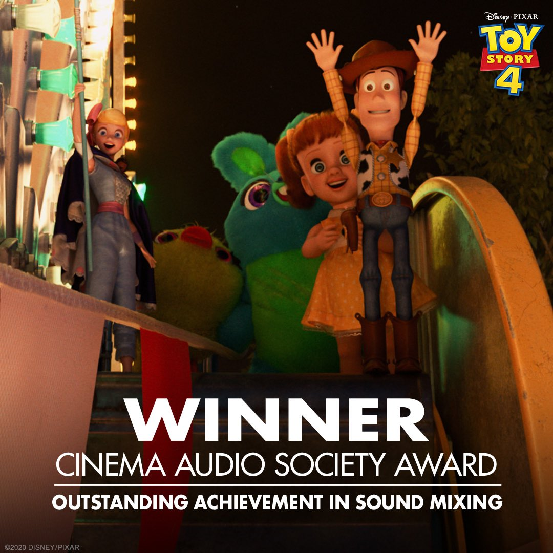 Congratulations to Toy Story 4 on their Cinema Audio Society Award win for Outstanding Achievement in Sound Mixing for an Animated Motion Picture. https://t.co/2gGfBcrCdw