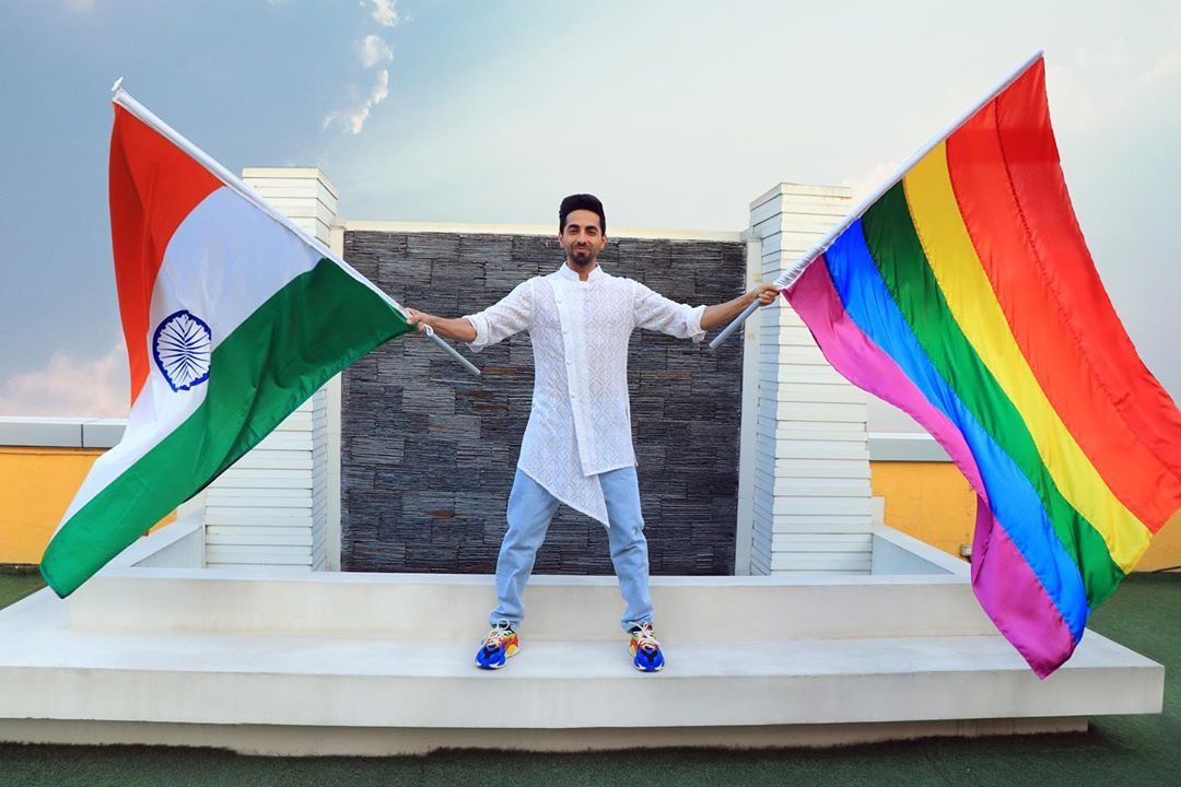 .@ayushmannk waves the tricolor & the Pride flag together on #RepublicDay   #RepublicDayIndia  #RepublicDay2020