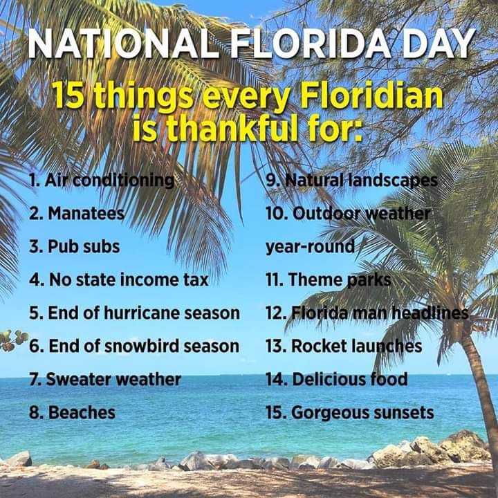 Happy #NationalFloridaDay! Our great, diverse state has something for everyone! What is your favorite thing about #Florida? #FloridaDay @seminolecounty @Florida_Today @orlandosentinel @OrlandoWeekly @FloridaIssues #ILoveFlorida pic.twitter.com/svlGNGRxIl