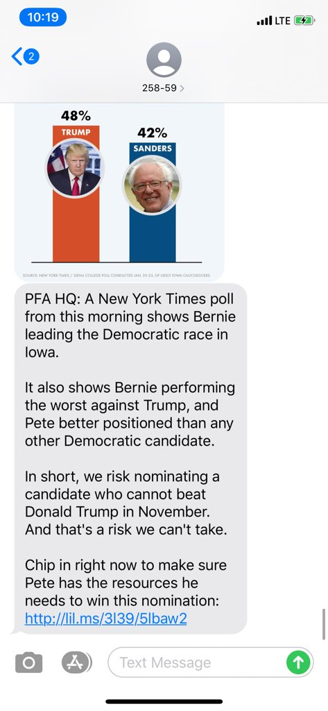 """In a text to supporters, Pete Buttigieg's campaign is touting New York Times polling that shows Bernie Sanders trailing Donald Trump in a general election matchup, calling it, """"a risk we can't take."""""""